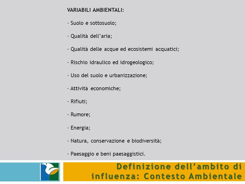 Definizione dell'ambito di influenza: Contesto Ambientale VARIABILI AMBIENTALI: · Suolo e sottosuolo; · Qualità dell'aria; · Qualità delle acque ed ec