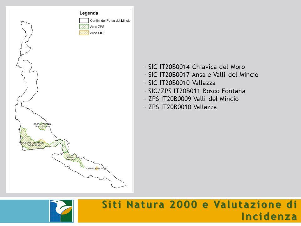 Siti Natura 2000 e Valutazione di Incidenza · SIC IT20B0014 Chiavica del Moro · SIC IT20B0017 Ansa e Valli del Mincio · SIC IT20B0010 Vallazza · SIC/Z