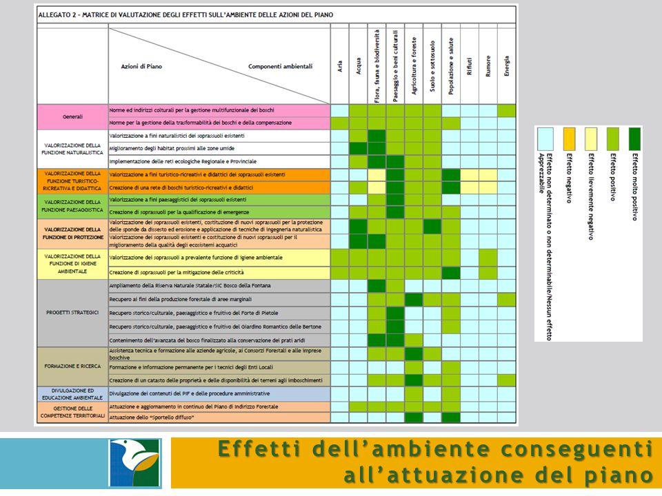 Effetti dell'ambiente conseguenti all'attuazione del piano