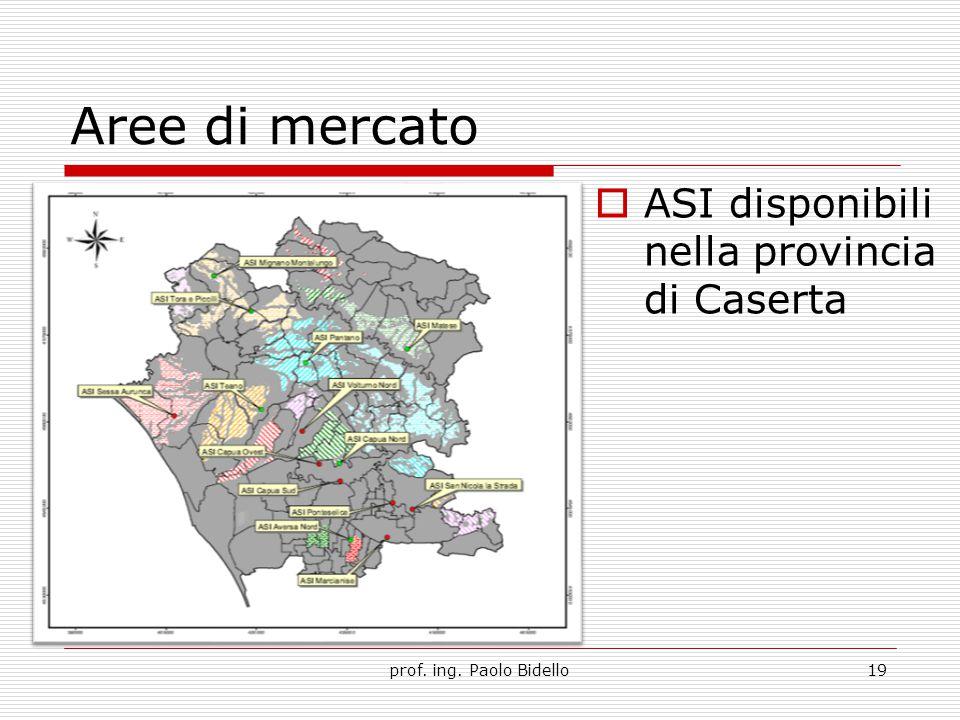 Aree di mercato prof. ing. Paolo Bidello19  ASI disponibili nella provincia di Caserta