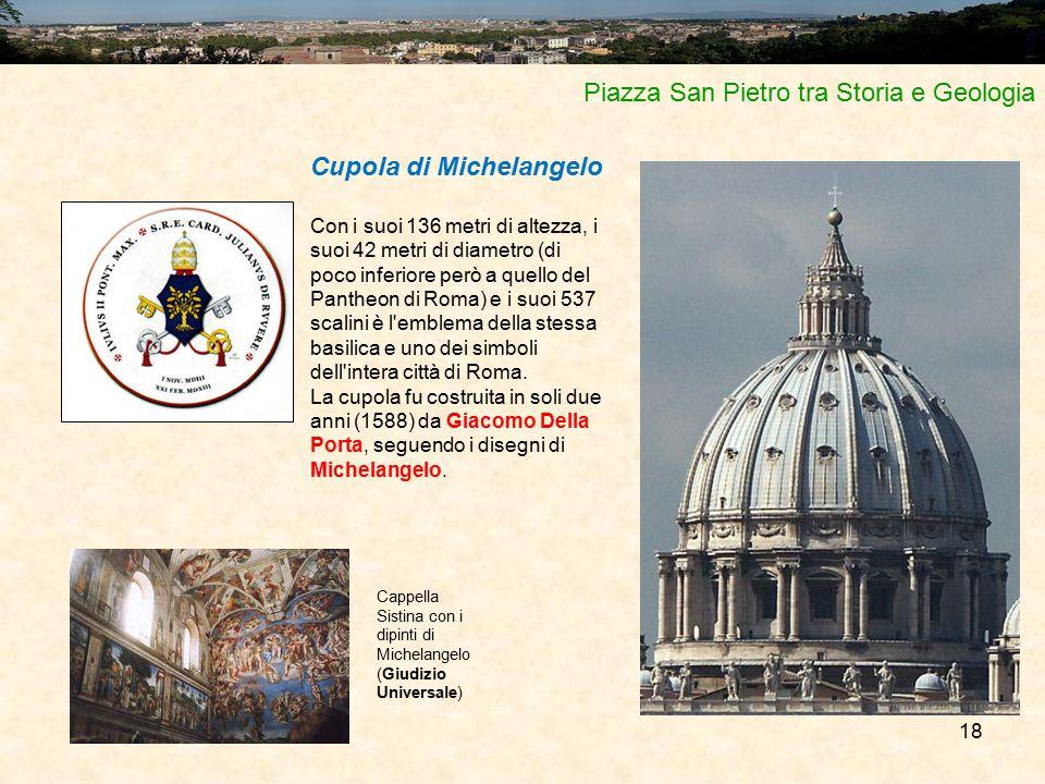 18 Piazza San Pietro tra Storia e Geologia Cupola di Michelangelo Con i suoi 136 metri di altezza, i suoi 42 metri di diametro (di poco inferiore però
