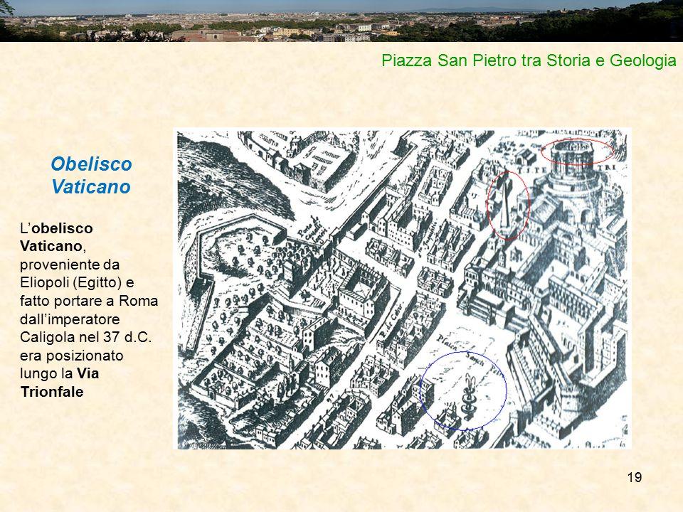 19 Piazza San Pietro tra Storia e Geologia Obelisco Vaticano L'obelisco Vaticano, proveniente da Eliopoli (Egitto) e fatto portare a Roma dall'imperat
