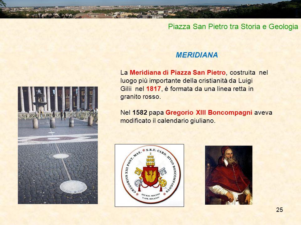 25 Piazza San Pietro tra Storia e Geologia MERIDIANA La Meridiana di Piazza San Pietro, costruita nel luogo più importante della cristianità da Luigi Gilii nel 1817, è formata da una linea retta in granito rosso.