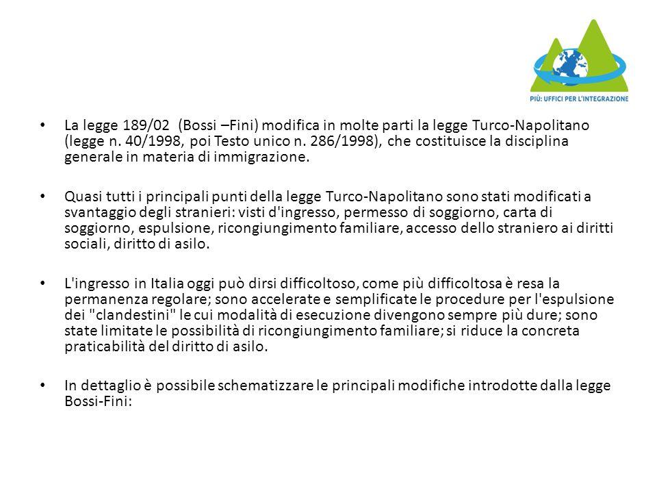 La legge 189/02 (Bossi –Fini) modifica in molte parti la legge Turco-Napolitano (legge n. 40/1998, poi Testo unico n. 286/1998), che costituisce la di