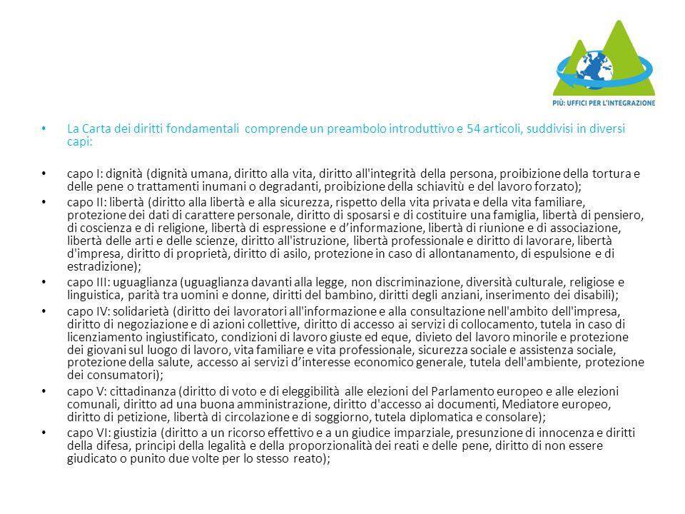 La Carta dei diritti fondamentali comprende un preambolo introduttivo e 54 articoli, suddivisi in diversi capi: capo I: dignità (dignità umana, diritt