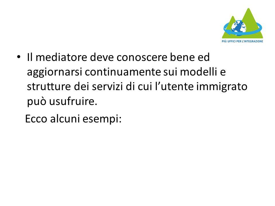 Il mediatore deve conoscere bene ed aggiornarsi continuamente sui modelli e strutture dei servizi di cui l'utente immigrato può usufruire. Ecco alcuni