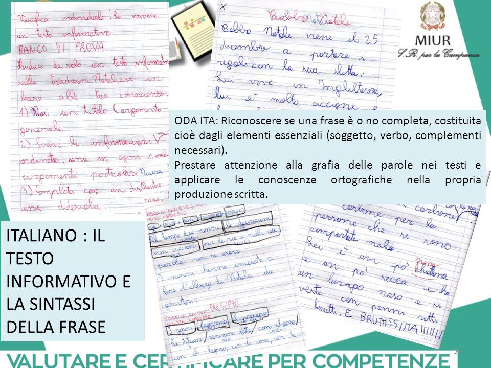 39 ITALIANO : IL TESTO INFORMATIVO E LA SINTASSI DELLA FRASE ODA ITA: Riconoscere se una frase è o no completa, costituita cioè dagli elementi essenziali (soggetto, verbo, complementi necessari).