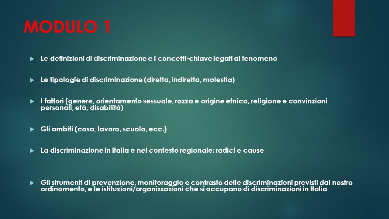 MODULO 1  Le definizioni di discriminazione e i concetti-chiave legati al fenomeno  Le tipologie di discriminazione (diretta, indiretta, molestia) 