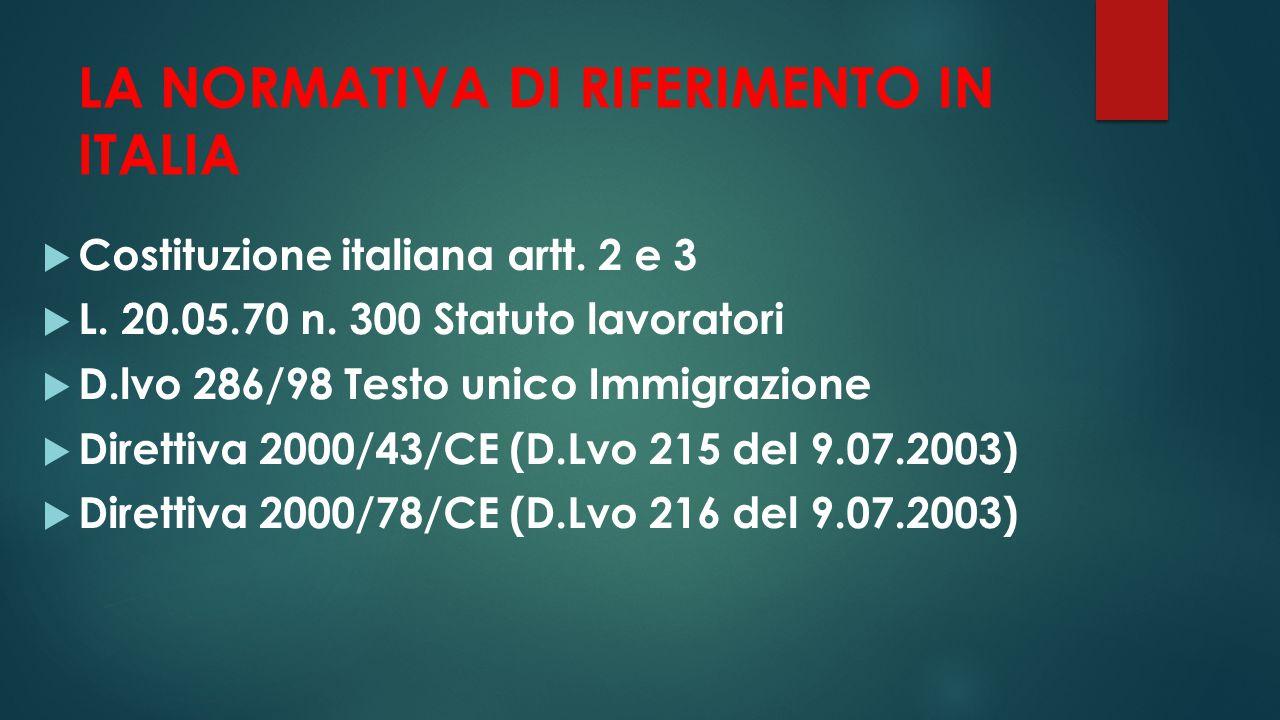 LA NORMATIVA DI RIFERIMENTO IN ITALIA  Costituzione italiana artt. 2 e 3  L. 20.05.70 n. 300 Statuto lavoratori  D.lvo 286/98 Testo unico Immigrazi