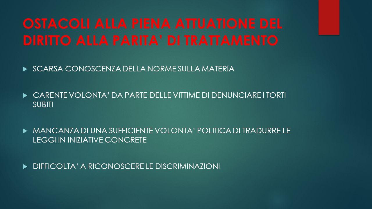 OSTACOLI ALLA PIENA ATTUATIONE DEL DIRITTO ALLA PARITA' DI TRATTAMENTO  SCARSA CONOSCENZA DELLA NORME SULLA MATERIA  CARENTE VOLONTA' DA PARTE DELLE