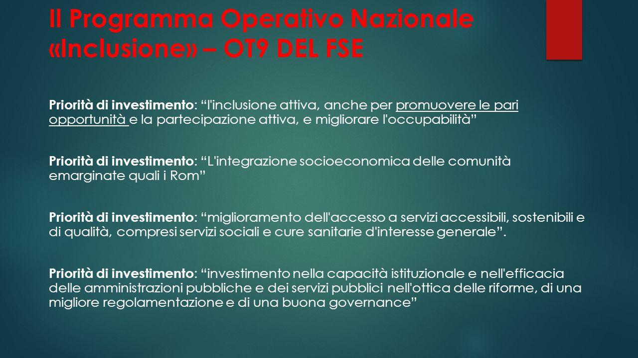 """Il Programma Operativo Nazionale «Inclusione» – OT9 DEL FSE Priorità di investimento : """"l'inclusione attiva, anche per promuovere le pari opportunità"""