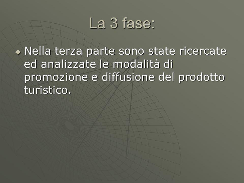 La 3 fase:  Nella terza parte sono state ricercate ed analizzate le modalità di promozione e diffusione del prodotto turistico.