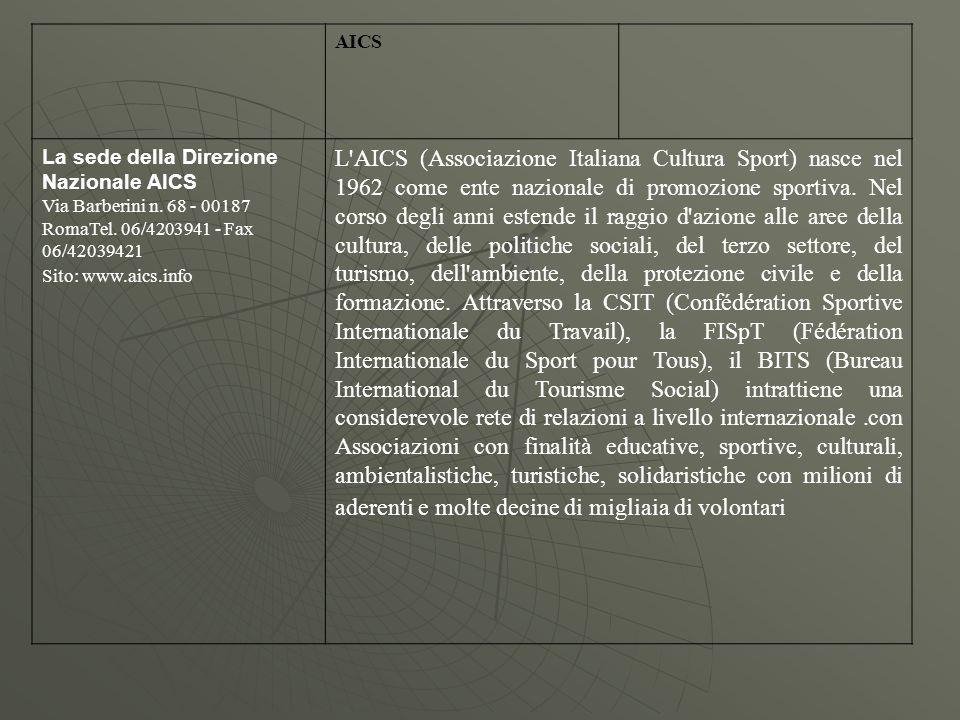 AICS La sede della Direzione Nazionale AICS Via Barberini n.