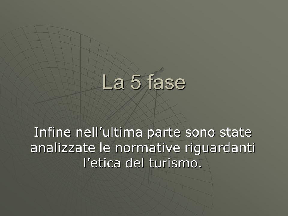 La 5 fase Infine nell'ultima parte sono state analizzate le normative riguardanti l'etica del turismo.