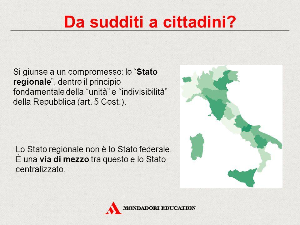 """Si giunse a un compromesso: lo """"Stato regionale"""", dentro il principio fondamentale della """"unità"""" e """"indivisibilità"""" della Repubblica (art. 5 Cost.). D"""