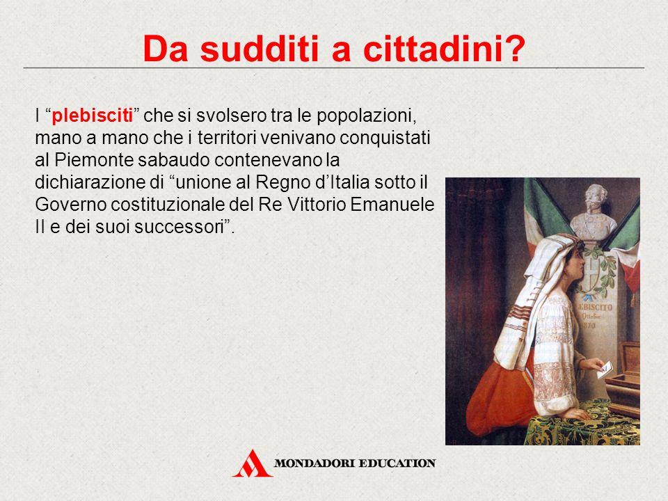 """I """"plebisciti"""" che si svolsero tra le popolazioni, mano a mano che i territori venivano conquistati al Piemonte sabaudo contenevano la dichiarazione d"""