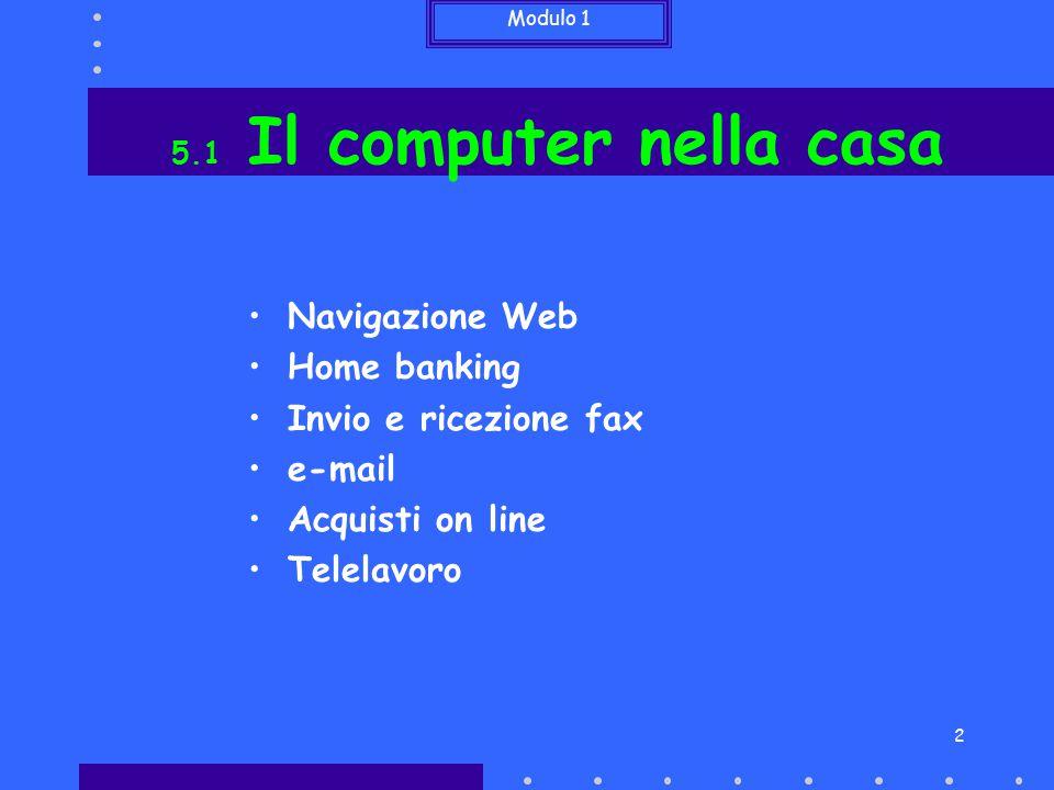 Modulo 1 2 Navigazione Web Home banking Invio e ricezione fax e-mail Acquisti on line Telelavoro 5.1 Il computer nella casa