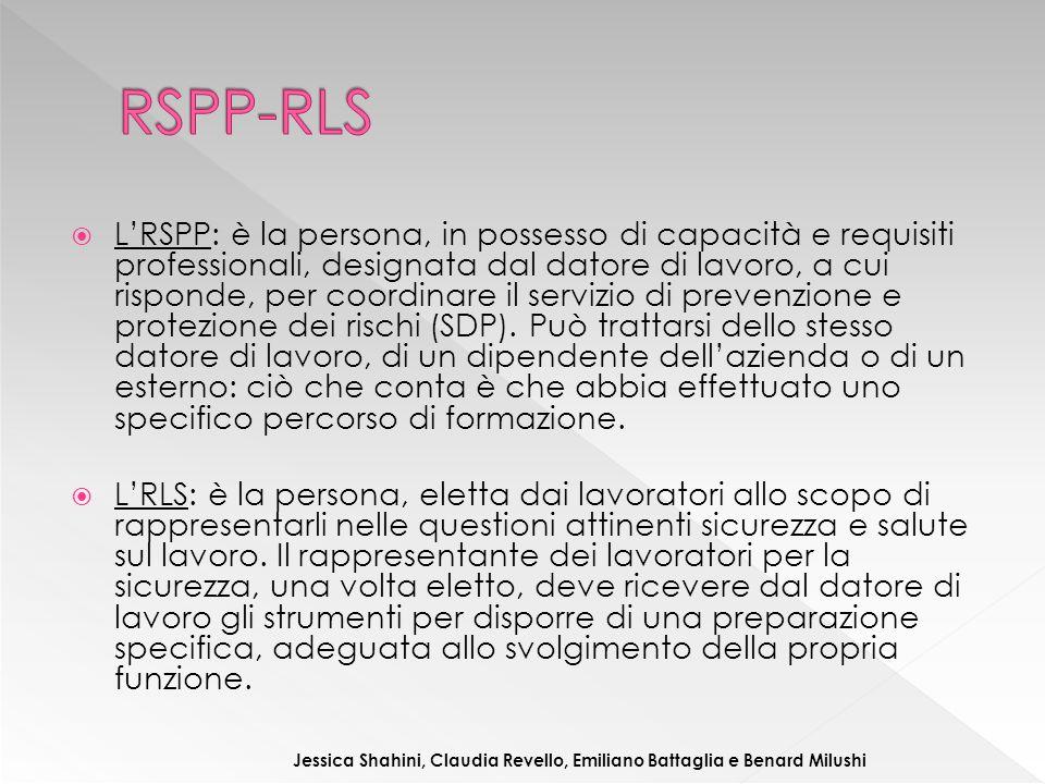  L'RSPP: è la persona, in possesso di capacità e requisiti professionali, designata dal datore di lavoro, a cui risponde, per coordinare il servizio