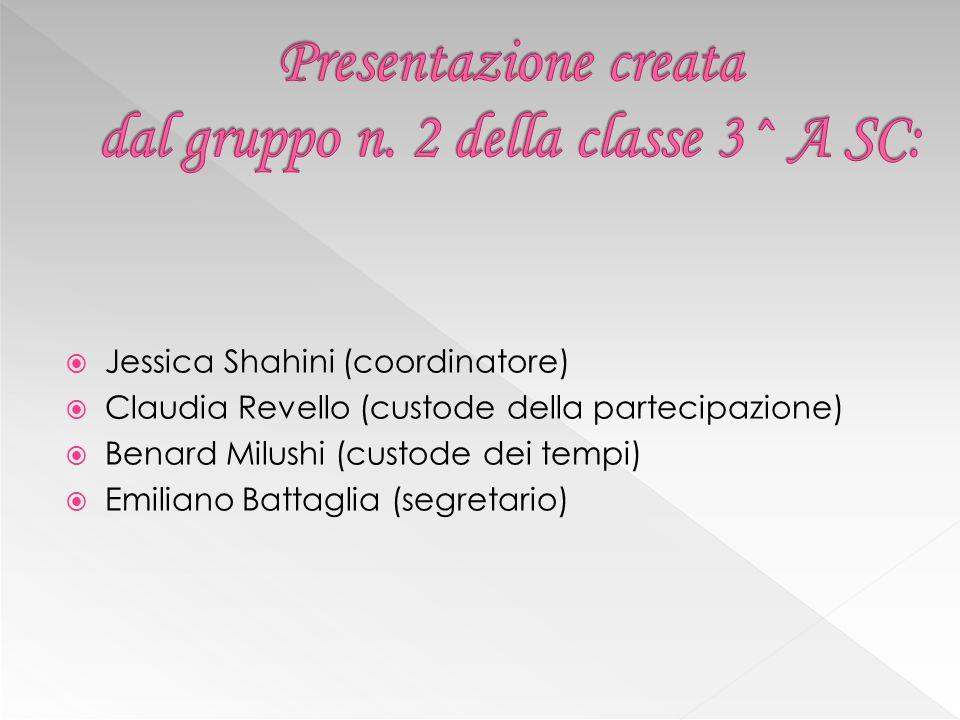  Jessica Shahini (coordinatore)  Claudia Revello (custode della partecipazione)  Benard Milushi (custode dei tempi)  Emiliano Battaglia (segretari