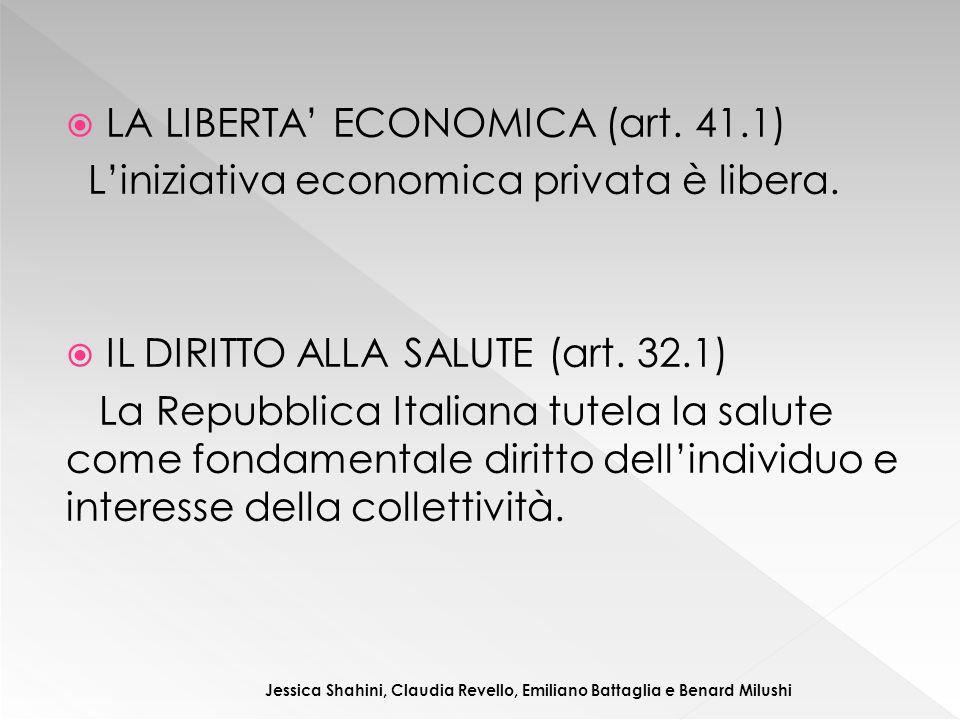  LA LIBERTA' ECONOMICA (art. 41.1) L'iniziativa economica privata è libera.  IL DIRITTO ALLA SALUTE (art. 32.1) La Repubblica Italiana tutela la sal