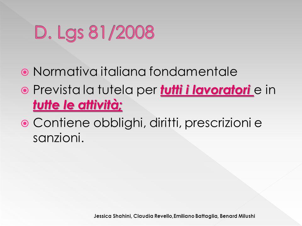  Normativa italiana fondamentale tutti i lavoratori tutte le attività;  Prevista la tutela per tutti i lavoratori e in tutte le attività;  Contiene