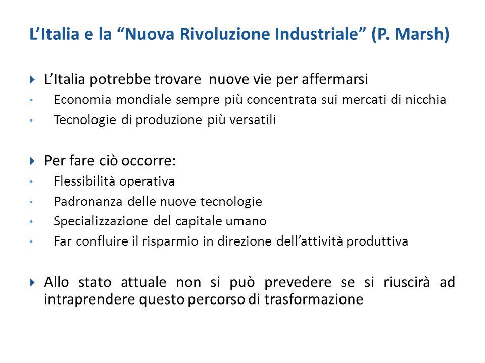 """L'Italia e la """"Nuova Rivoluzione Industriale"""" (P. Marsh)  L'Italia potrebbe trovare nuove vie per affermarsi Economia mondiale sempre più concentrata"""