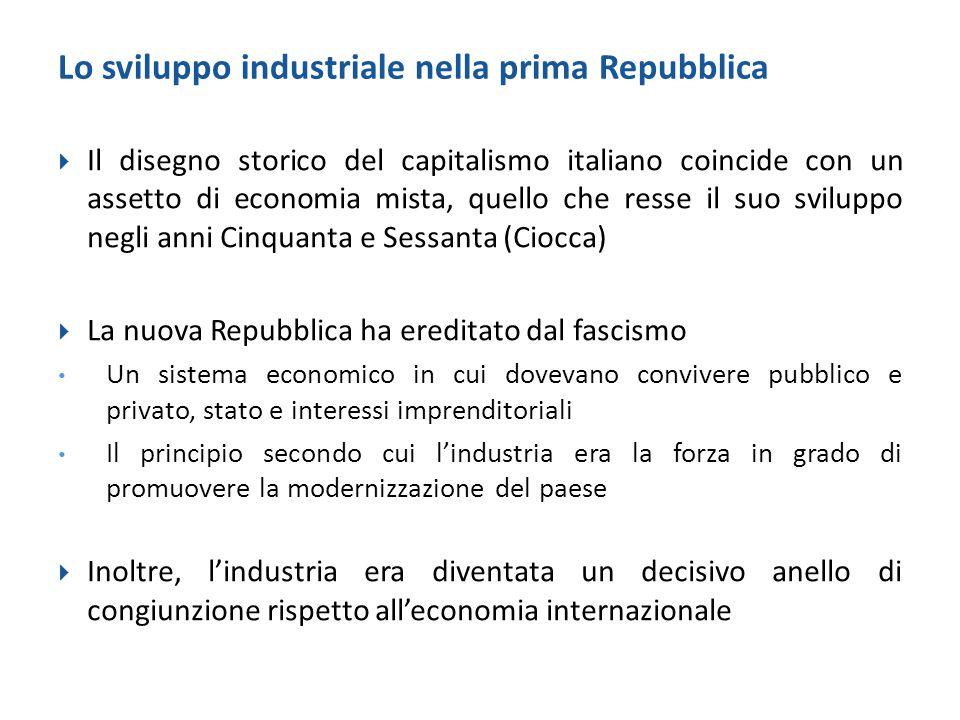 Lo sviluppo industriale nella prima Repubblica  Il disegno storico del capitalismo italiano coincide con un assetto di economia mista, quello che res