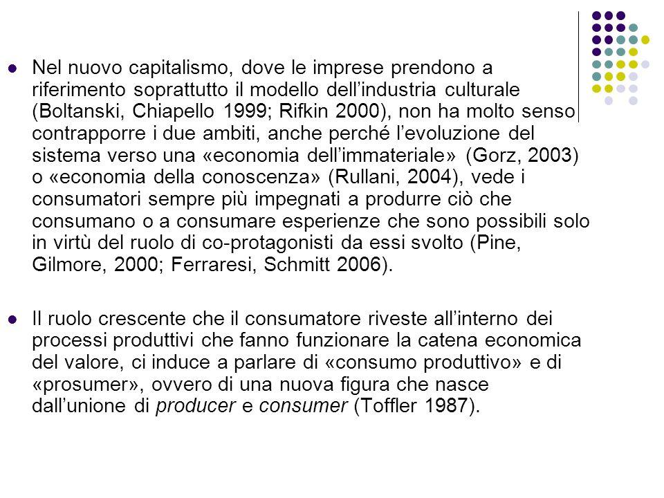 Nel nuovo capitalismo, dove le imprese prendono a riferimento soprattutto il modello dell'industria culturale (Boltanski, Chiapello 1999; Rifkin 2000)
