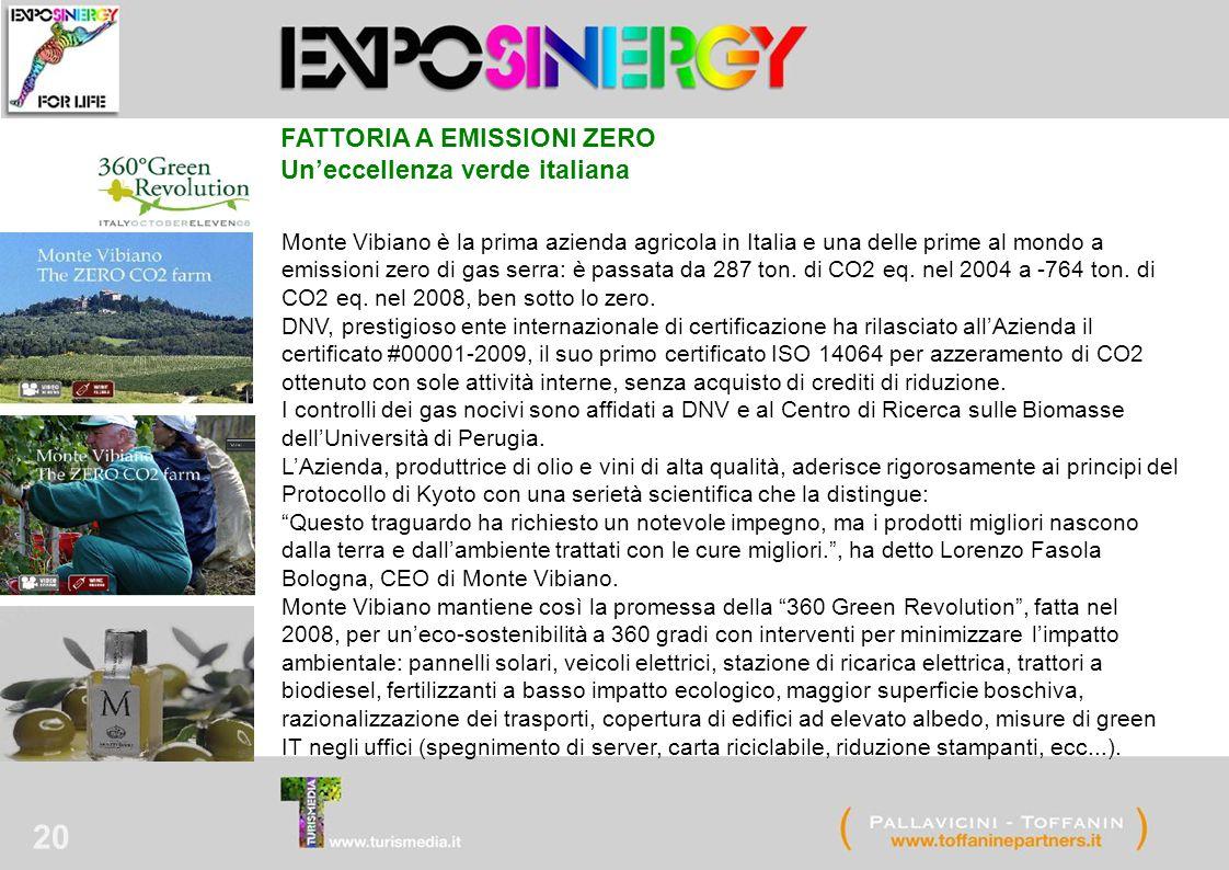 20 Monte Vibiano è la prima azienda agricola in Italia e una delle prime al mondo a emissioni zero di gas serra: è passata da 287 ton.