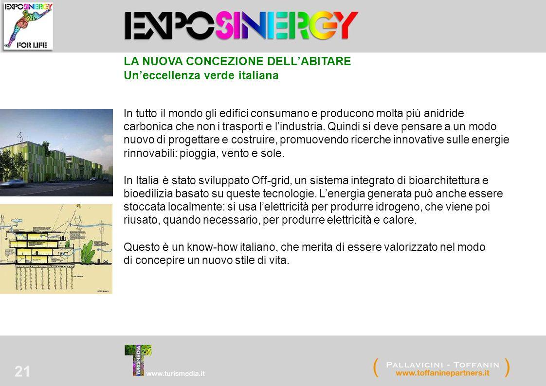 21 LA NUOVA CONCEZIONE DELL'ABITARE Un'eccellenza verde italiana In tutto il mondo gli edifici consumano e producono molta più anidride carbonica che non i trasporti e l'industria.
