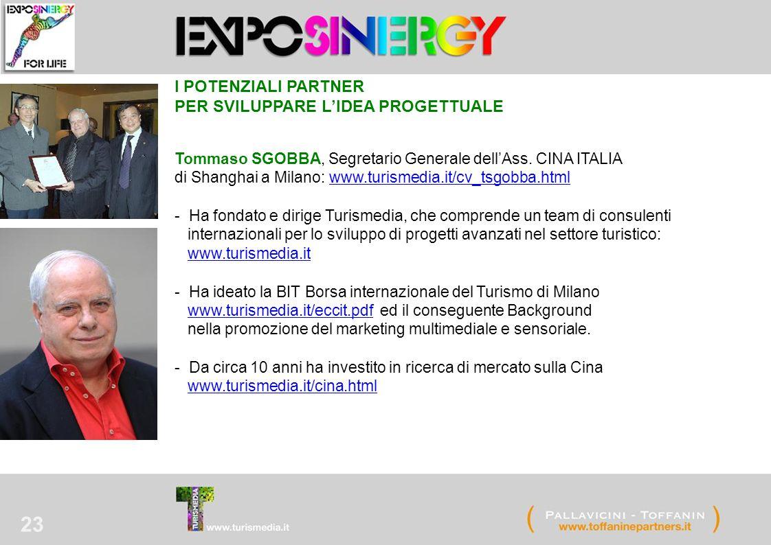 23 I POTENZIALI PARTNER PER SVILUPPARE L'IDEA PROGETTUALE Tommaso SGOBBA, Segretario Generale dell'Ass. CINA ITALIA di Shanghai a Milano: www.turismed