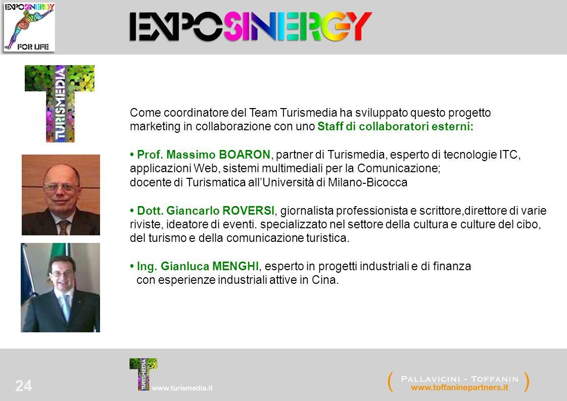 24 Come coordinatore del Team Turismedia ha sviluppato questo progetto marketing in collaborazione con uno Staff di collaboratori esterni: Prof. Massi
