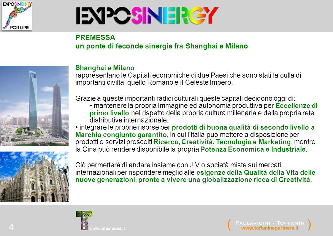 4 Shanghai e Milano rappresentano le Capitali economiche di due Paesi che sono stati la culla di importanti civiltà, quello Romano e il Celeste Impero