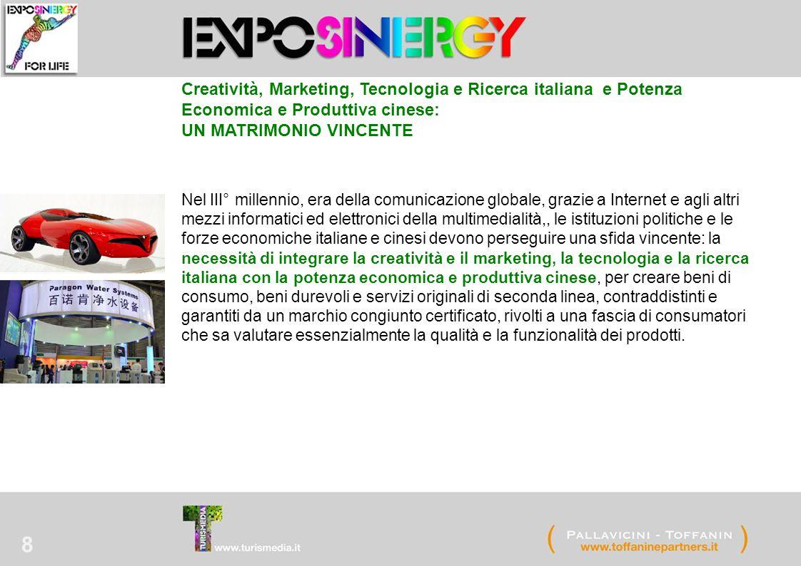 8 Creatività, Marketing, Tecnologia e Ricerca italiana e Potenza Economica e Produttiva cinese: UN MATRIMONIO VINCENTE Nel III° millennio, era della c