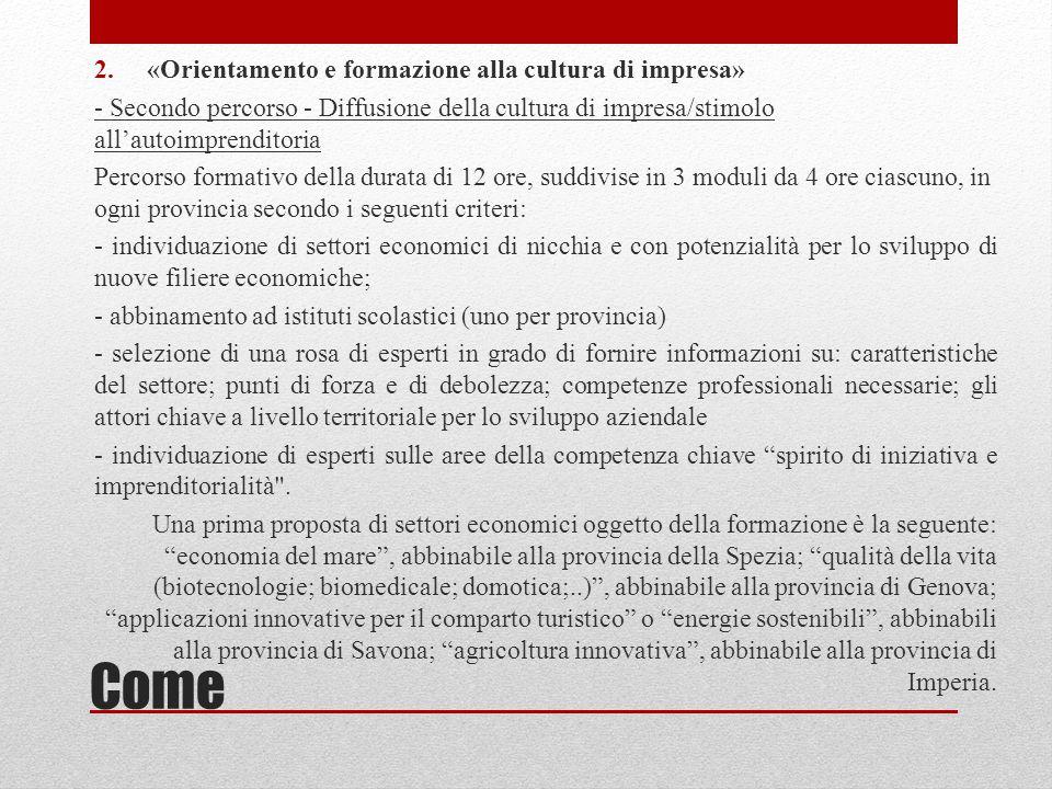 Come 3.«Europrogettazione» Unioncamere Liguria propone di organizzare per gli operatori scolastici regionali un percorso di approfondimento sulle modalità di partecipazione alla programmazione finanziata dalla Commissione europea, sia essa di gestione diretta che indiretta.
