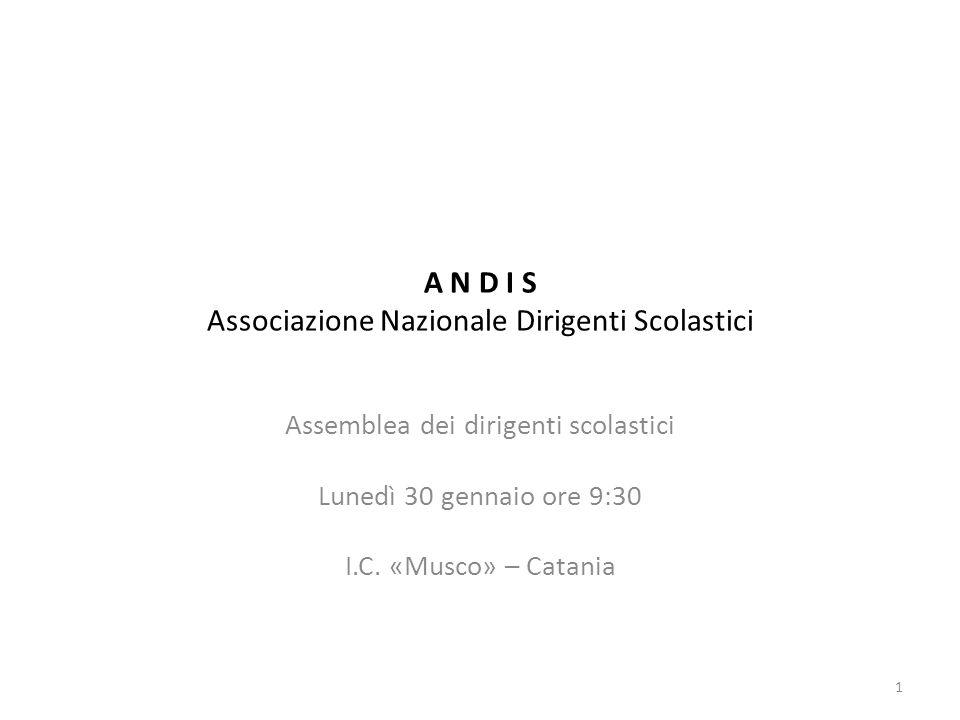 A N D I S Associazione Nazionale Dirigenti Scolastici Assemblea dei dirigenti scolastici Lunedì 30 gennaio ore 9:30 I.C. «Musco» – Catania 1