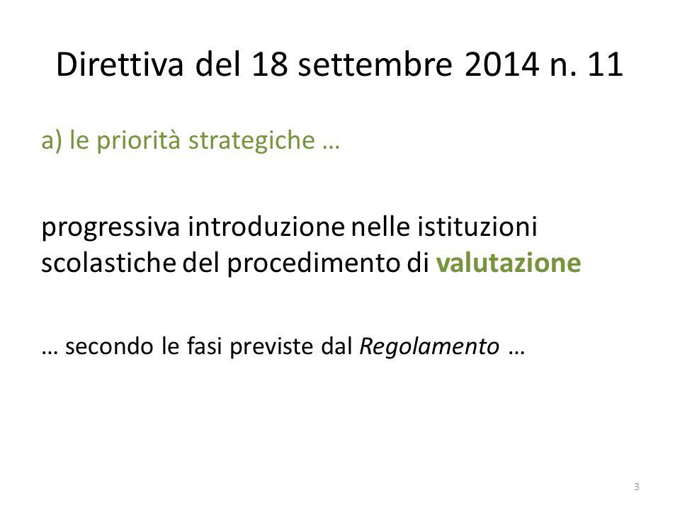 Direttiva del 18 settembre 2014 n. 11 a) le priorità strategiche … progressiva introduzione nelle istituzioni scolastiche del procedimento di valutazi