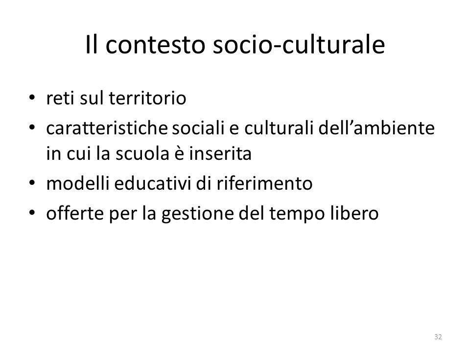 Il contesto socio-culturale reti sul territorio caratteristiche sociali e culturali dell'ambiente in cui la scuola è inserita modelli educativi di rif