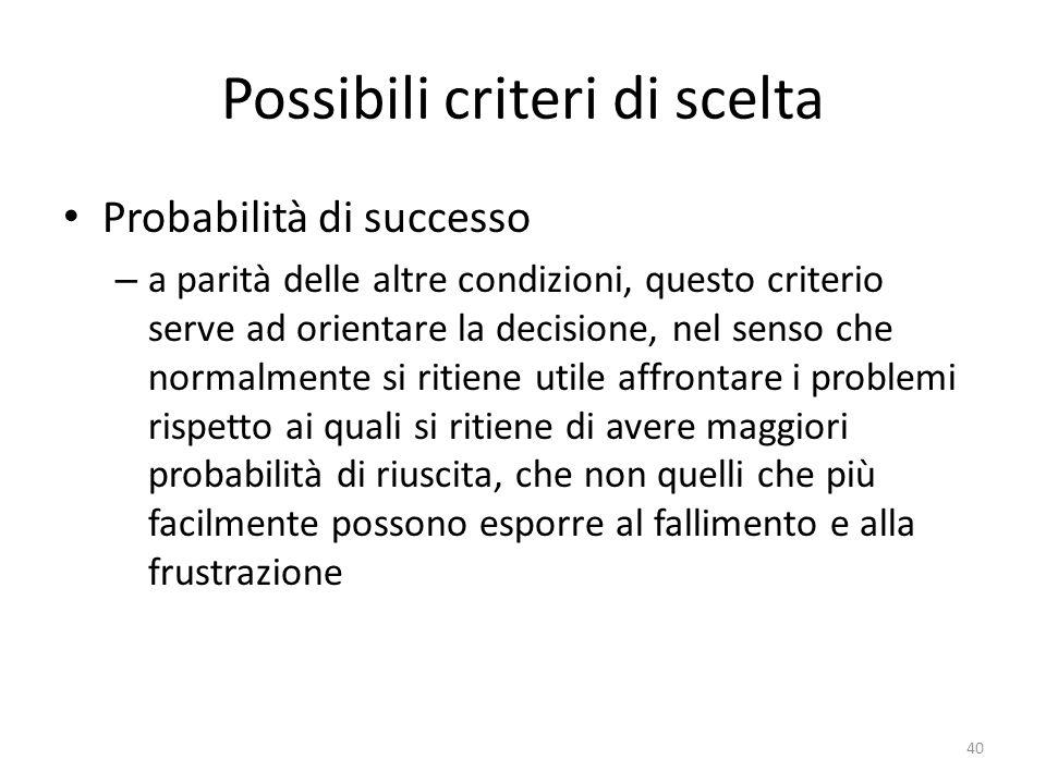 Possibili criteri di scelta Probabilità di successo – a parità delle altre condizioni, questo criterio serve ad orientare la decisione, nel senso che