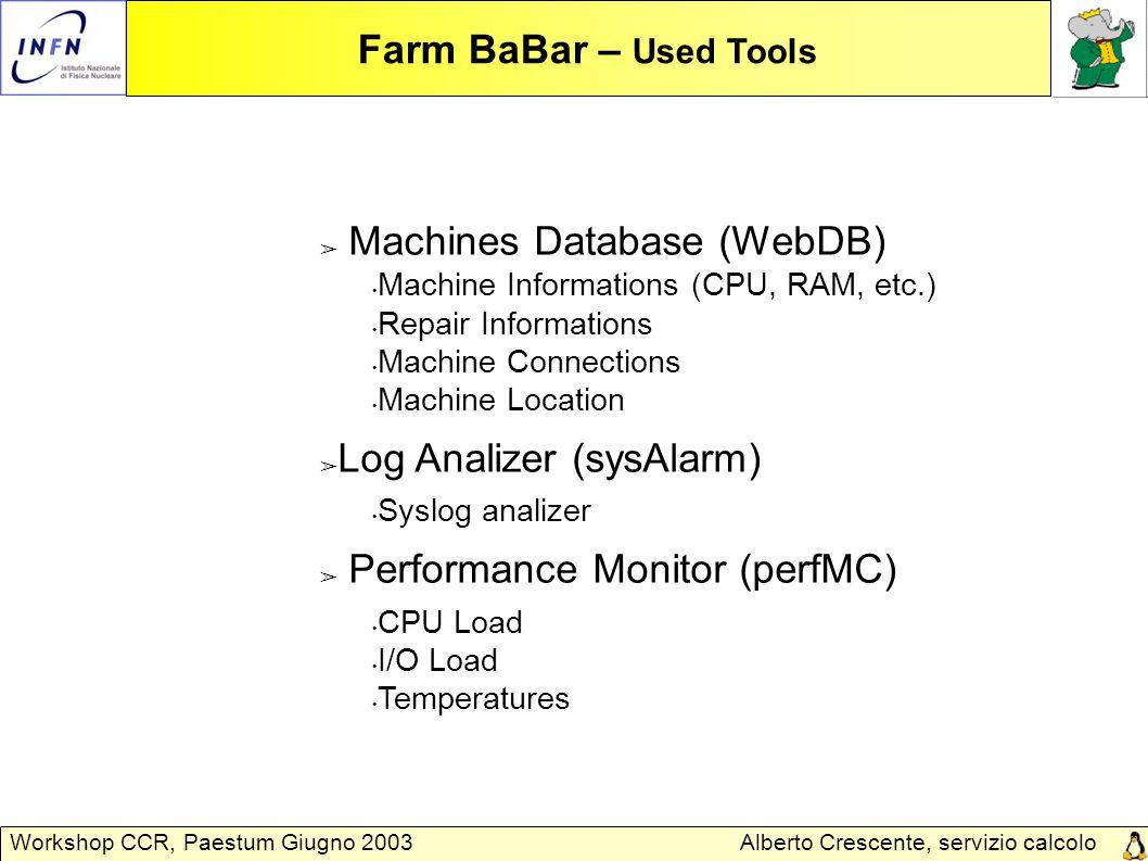Alberto Crescente, servizio calcolo Padova Workshop CCR, Paestum Giugno 2003 Farm BaBar – Used Tools ➢ Machines Database (WebDB) Machine Informations (CPU, RAM, etc.) Repair Informations Machine Connections Machine Location ➢ Log Analizer (sysAlarm) Syslog analizer ➢ Performance Monitor (perfMC) CPU Load I/O Load Temperatures