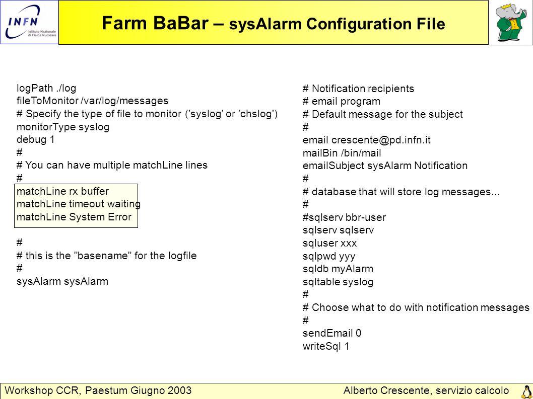 Alberto Crescente, servizio calcolo Padova Workshop CCR, Paestum Giugno 2003 Farm BaBar – sysAlarm Configuration File logPath./log fileToMonitor /var/