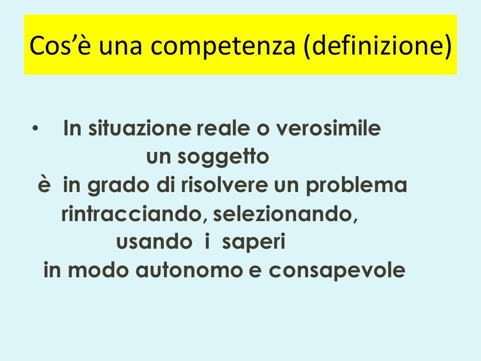 Cos'è una competenza (definizione) In situazione reale o verosimile un soggetto è in grado di risolvere un problema rintracciando, selezionando, usando i saperi in modo autonomo e consapevole