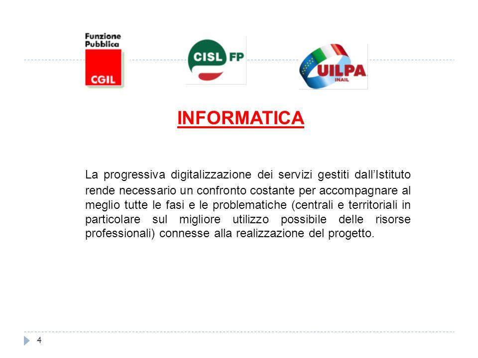 INFORMATICA La progressiva digitalizzazione dei servizi gestiti dall'Istituto rende necessario un confronto costante per accompagnare al meglio tutte