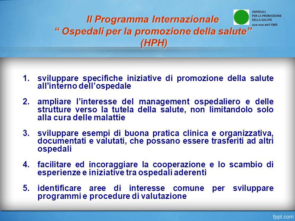 1.sviluppare specifiche iniziative di promozione della salute all'interno dell'ospedale 2.ampliare l'interesse del management ospedaliero e delle stru