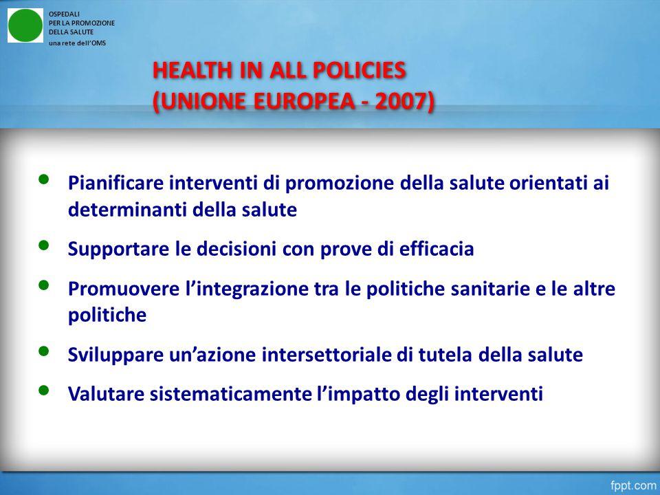 HEALTH IN ALL POLICIES (UNIONE EUROPEA - 2007) HEALTH IN ALL POLICIES (UNIONE EUROPEA - 2007) OSPEDALI PER LA PROMOZIONE DELLA SALUTE una rete dell'OMS Pianificare interventi di promozione della salute orientati ai determinanti della salute Supportare le decisioni con prove di efficacia Promuovere l'integrazione tra le politiche sanitarie e le altre politiche Sviluppare un'azione intersettoriale di tutela della salute Valutare sistematicamente l'impatto degli interventi