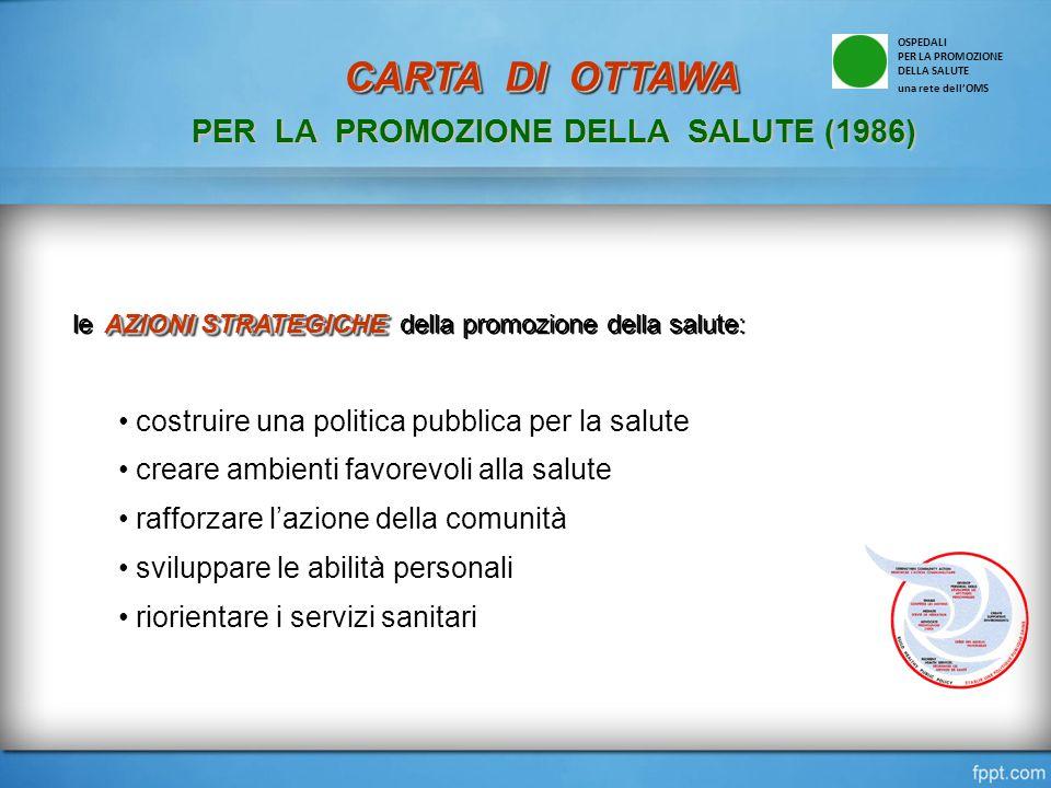 AZIONI STRATEGICHE le AZIONI STRATEGICHE della promozione della salute: costruire una politica pubblica per la salute creare ambienti favorevoli alla salute rafforzare l'azione della comunità sviluppare le abilità personali riorientare i servizi sanitari OSPEDALI PER LA PROMOZIONE DELLA SALUTE una rete dell'OMS CARTA DI OTTAWA CARTA DI OTTAWA PER LA PROMOZIONE DELLA SALUTE (1986)