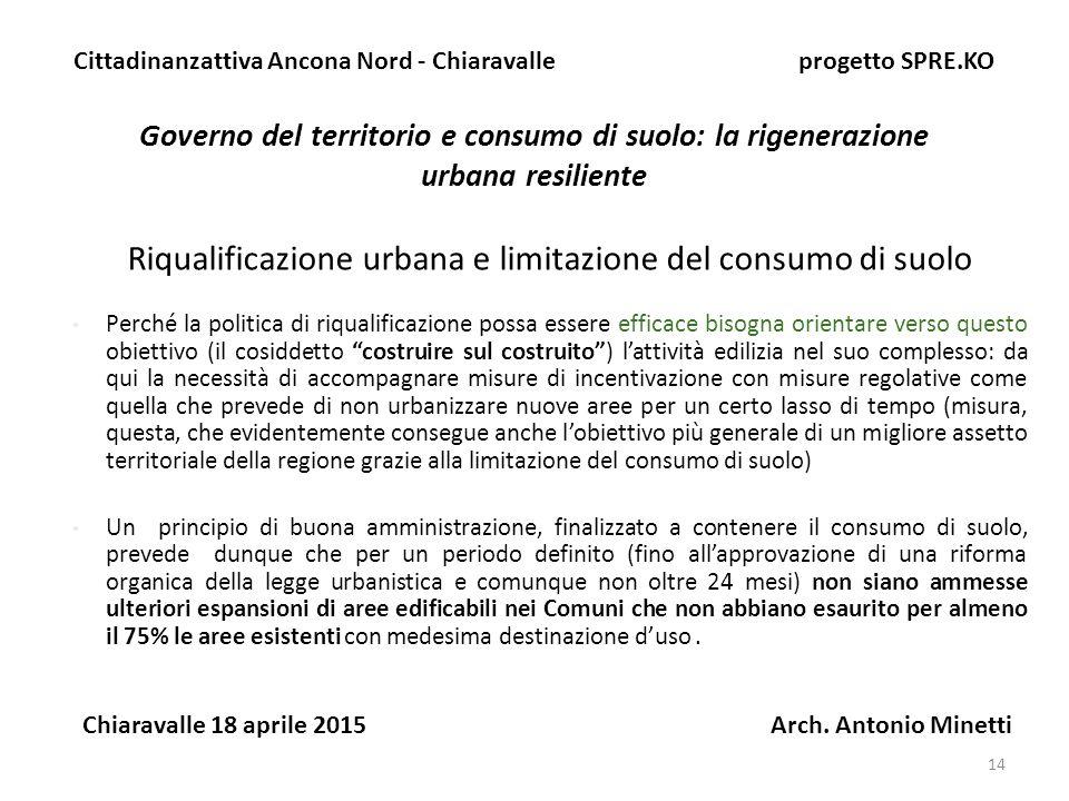 14 Governo del territorio e consumo di suolo: la rigenerazione urbana resiliente Cittadinanzattiva Ancona Nord - Chiaravalle progetto SPRE.KO Chiaravalle 18 aprile 2015 Arch.