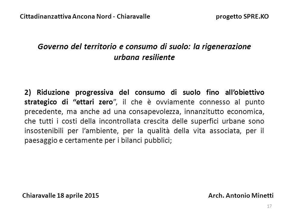 17 Governo del territorio e consumo di suolo: la rigenerazione urbana resiliente Cittadinanzattiva Ancona Nord - Chiaravalle progetto SPRE.KO Chiaravalle 18 aprile 2015 Arch.