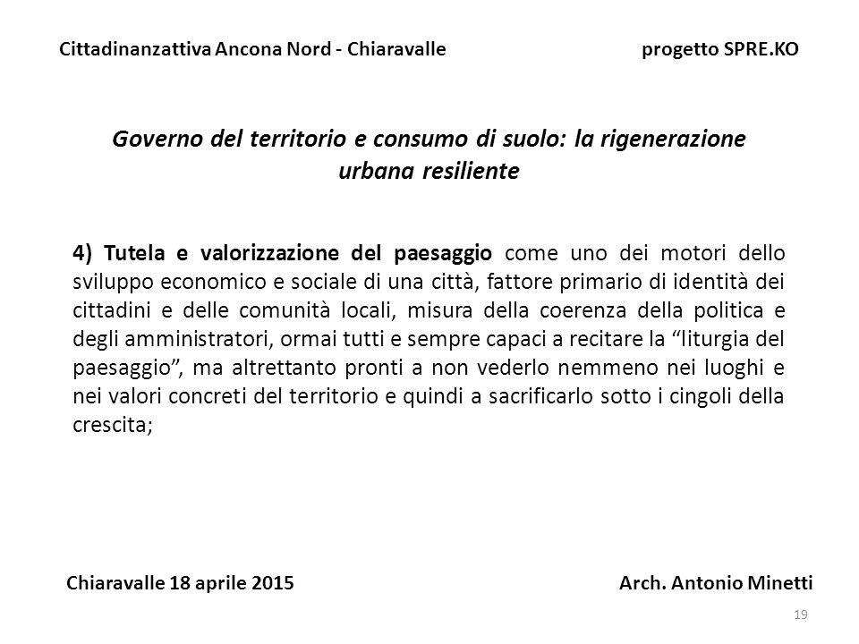 19 Governo del territorio e consumo di suolo: la rigenerazione urbana resiliente Cittadinanzattiva Ancona Nord - Chiaravalle progetto SPRE.KO Chiaravalle 18 aprile 2015 Arch.