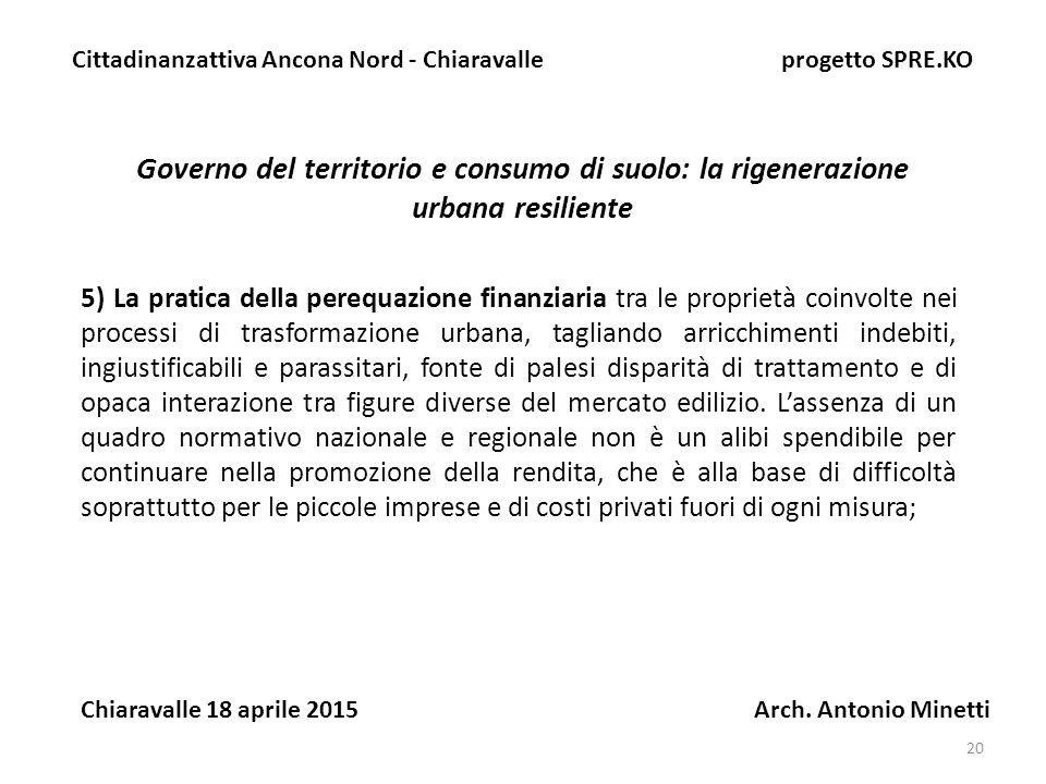 20 Governo del territorio e consumo di suolo: la rigenerazione urbana resiliente Cittadinanzattiva Ancona Nord - Chiaravalle progetto SPRE.KO Chiaravalle 18 aprile 2015 Arch.